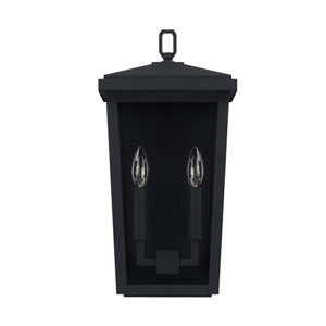 Donnelly Black Nine-Inch Two Light Outdoor Wall Lantern
