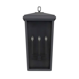 Donnelly Black 16-Inch Three-Light Outdoor Wall Lantern