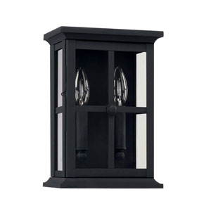 Mansell Black Seven-Inch Two Light Outdoor Wall Lantern
