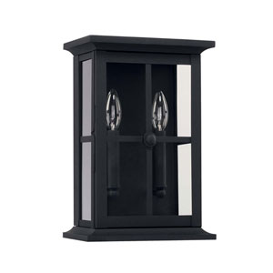 Mansell Black Nine-Inch Two Light Outdoor Wall Lantern