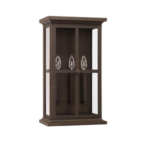 Mansell Oil Rubbed Bronze 11-Inch Three-Light Outdoor Wall Lantern