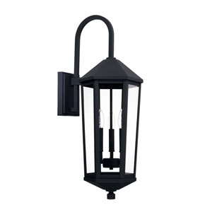 Ellsworth Black 10-Inch Three-Light Outdoor Wall Lantern