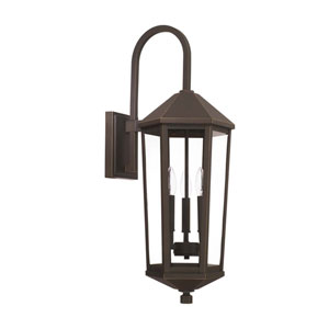 Ellsworth Oil Rubbed Bronze 10-Inch Three-Light Outdoor Wall Lantern