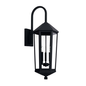 Ellsworth Black 12-Inch Three-Light Outdoor Wall Lantern