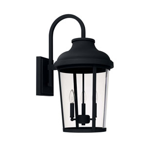 Dunbar Black 13-Inch Three-Light Outdoor Wall Lantern