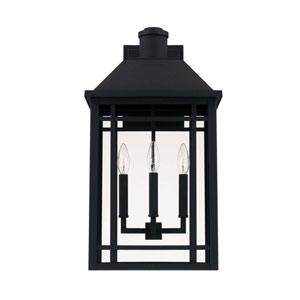 Braden Black Three-Light Outdoor Wall Lantern