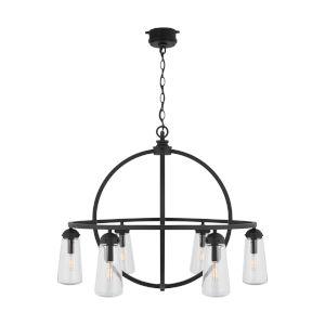 Outdoor Black Six-Light Outdoor Hanging Chandelier
