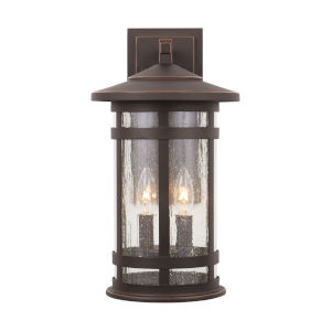 Mission Hills Oiled Bronze Two-Light Outdoor Wall Lantern