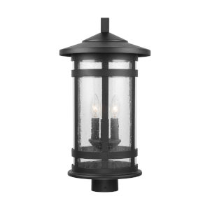 Mission Hills Black Three-Light Outdoor Post Lantern