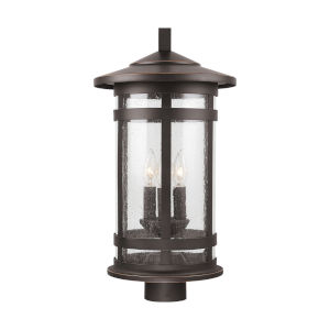 Mission Hills Oiled Bronze Three-Light Outdoor Post Lantern