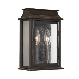 Bolton Oiled Bronze Two-Light Outdoor Wall Mount with Antiqued Glass