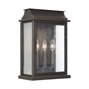 Bolton Oiled Bronze Three-Light Outdoor Wall Mount with Antiqued Glass