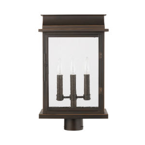 Bolton Oiled Bronze Three-Light Outdoor Post Mount with Antiqued Glass