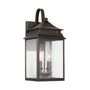 Sutter Creek Oiled Bronze Two-Light Outdoor Wall Mount with Antiqued Water Glass