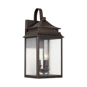 Sutter Creek Oiled Bronze Three-Light Outdoor Wall Mount with Antiqued Water Glass