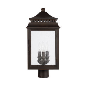 Sutter Creek Oiled Bronze Three-Light Outdoor Post Mount with Antiqued Water Glass