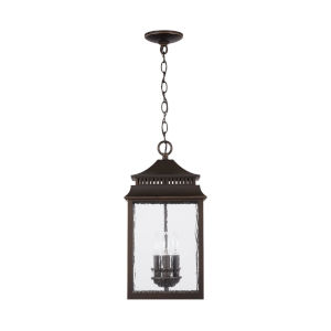 Sutter Creek Oiled Bronze Three-Light Outdoor Hanging Pendant with Antiqued Water Glass