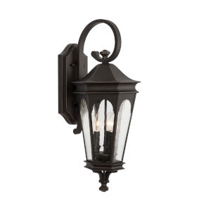 Inman Park Oiled Bronze Three-Light Outdoor Wall Mount with Antiqued Glass
