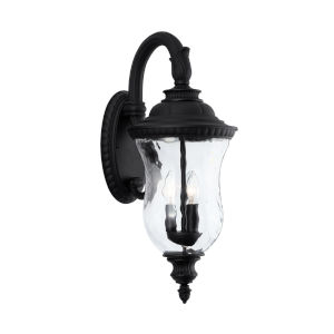 Ashford Black Three-Light Outdoor Wall Mount with Water Glass