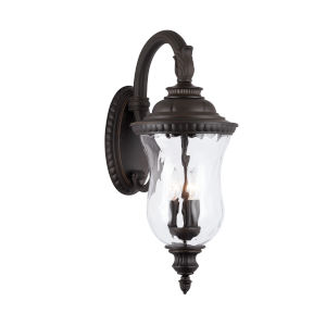 Ashford Oiled Bronze Three-Light Outdoor Wall Mount with Water Glass