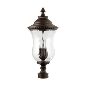 Ashford Oiled Bronze Three-Light Outdoor Post Mount with Water Glass