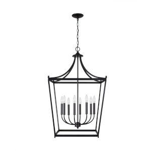 Stanton Matte Black Eight-Light Foyer Pendant