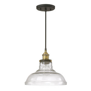 Bronze and Brass 11-Inch One-Light Pendant