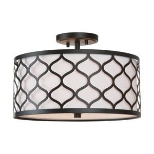 Felicia Matte Black 10-Inch Three-Light Semi-Flush Mount