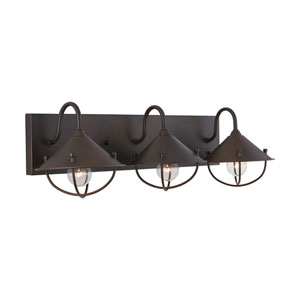 Old Bronze Seven-Inch Three-Light Bath Vanity