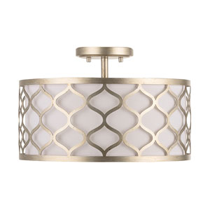 Felicia Winter Gold 10-Inch Three-Light Semi-Flush Mount