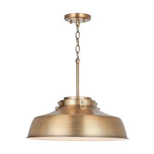 Oakwood Aged Brass Seven-Inch One-Light Pendant