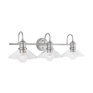 Zephir Brushed Nickel Painted Three-Light Vanity