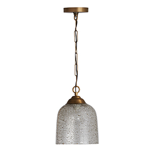 Newport Patinaed Brass One-Light Mini Pendant with Stone Seeded Glass