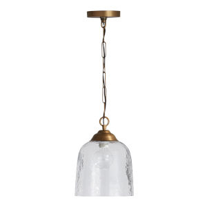 Newport Patinaed Brass Clear Hammered Glass One-Light Mini Pendant