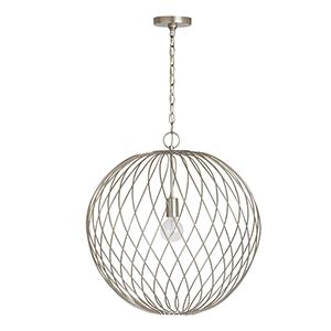 Glenda Argent Silver One-Light 23-Inch Orb Pendant