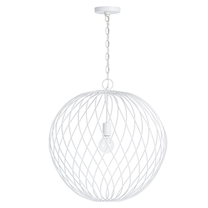 Glenda Blanc Glossy White One-Light 23-Inch Orb Pendant