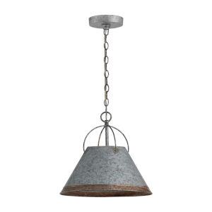 Alvin Antique Galvanized Metal Cone One-Light Pendant