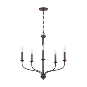 Old Bronze Five-Light Chandelier