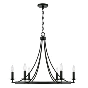 Black Iron Six-Light Chandelier