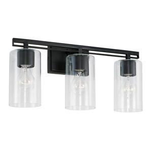 Matte Black 18-Inch Three-Light Bath Vanity