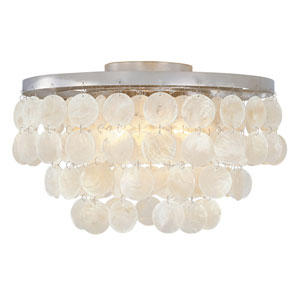 Shelby Capiz Shell Polished Nickel Three-Light Flush Mount