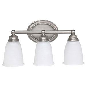 Matte Nickel Three-Light Bath Fixture