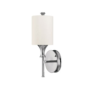 Studio Polished Nickel One-Light Sconce with White Shade