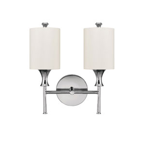 Studio Polished Nickel Two-Light Sconce with White Shades