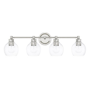 Mid-Century Polished Nickel Four-Light Bath Vanity