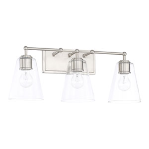 Brushed Nickel Three-Light Bath Vanity
