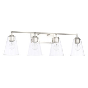 Polished Nickel 32-Inch Four-Light Bath Vanity