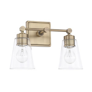 Aged Brass Two-Light Bath Vanity