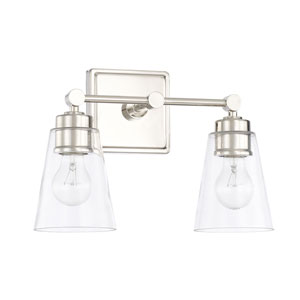 Polished Nickel 14-Inch Two-Light Bath Vanity