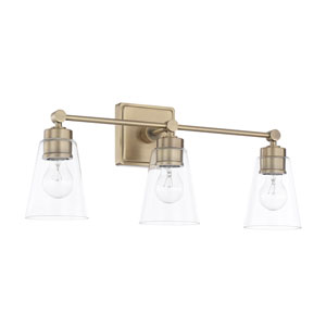 Aged Brass Three-Light Bath Vanity